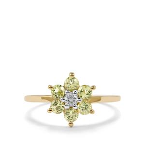 Brazilian Chrysoberyl Ring with White Zircon in 10k Gold 0.96cts