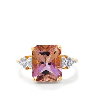 Anahi Ametrine Ring with White Zircon in 9K Gold 4.40cts