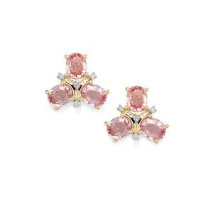 Sakaraha Pink Sapphire & Diamond 10K Gold Earrings ATGW 2.38cts