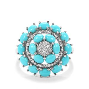 Sleeping Beauty Turquoise Ring with White Zircon in Platinum Plated Sterling Silver 2.81cts