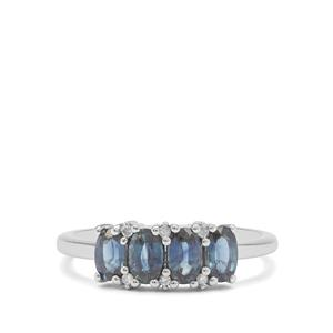 Australian Blue Sapphire Ring with Diamond in 9K White Gold 1.25cts