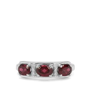 Tocantin Garnet Ring with White Zircon in Sterling Silver 1.96cts