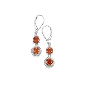 Zanzibar Sunburst Zircon Earrings with Diamond in 18K White Gold 5.22cts