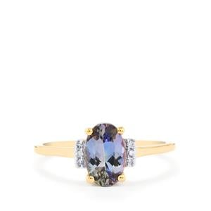 Bi Color Tanzanite Ring with Diamond in 10k Gold 1.24cts