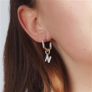 Molte N Letter Charm in Sterling Silver