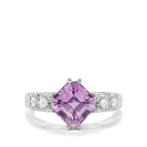 Asscher Cut Moroccan Amethyst & White Zircon Sterling Silver Ring ATGW 2.84cts