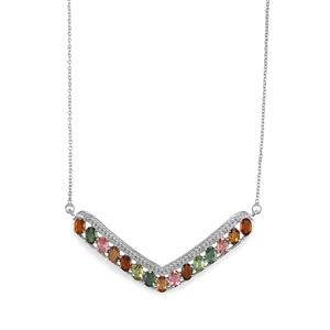 6.45ct Multi-Colour Tourmaline Sterling Silver Necklace