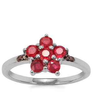 Malagasy Ruby Ring with Red Diamond in Sterling Silver 0.90ct (F)