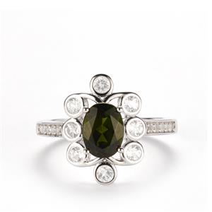 Chrome Diopside & White Topaz Sterling Silver Ring ATGW 2.05cts