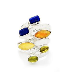 Natural Gemstones Sterling Silver Set of 3 Rings ATGW 3.93cts