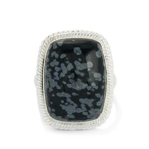 16.19ct Snowflake Obsidian Sterling Silver Aryonna Ring