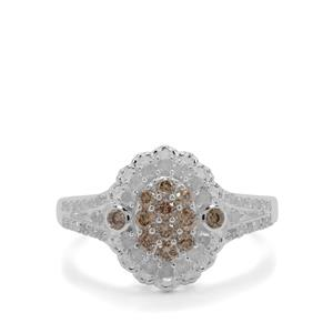 3/4ct Champagne & White Diamond Sterling Silver Ring