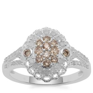 Champagne Diamond Ring with White Diamond in Sterling Silver 0.78ct