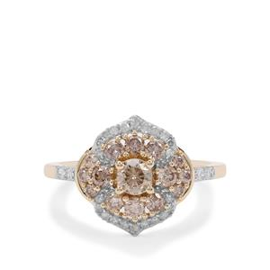 Cape Champagne Diamond Ring with White Diamond in 9K Gold 1cts