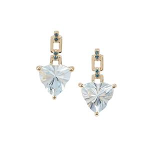 Lehrer Infinity Cut Sky Blue Topaz Earrings with Blue Diamond in 9K Gold 4.30cts