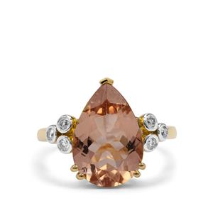 Nigerian Morganite Ring with Diamond in 18K Gold 4.90cts