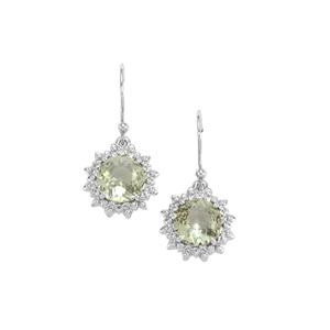 Lotus Cut Prasiolite Earrings with White Topaz in Sterling Silver 4cts