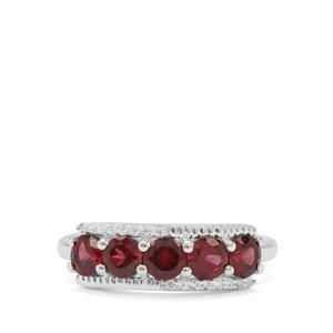 Tocantin Garnet Ring with White Zircon in Sterling Silver 1.78cts