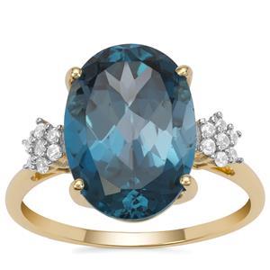 Marambaia London Blue Topaz Ring with White Zircon in 9K Gold 6.95cts