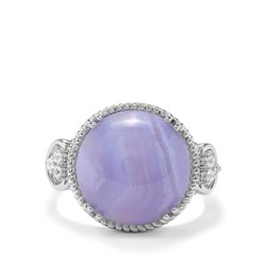 Blue Lace Agate & White Zircon Sterling Silver Ring ATGW 9.74cts