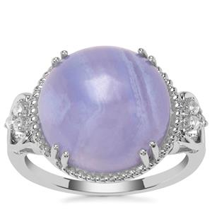 Blue Lace Agate Ring with White Zircon in Sterling Silver 9.74cts