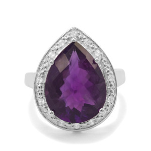 Amethyst & White Zircon Sterling Silver Ring ATGW 7.57cts
