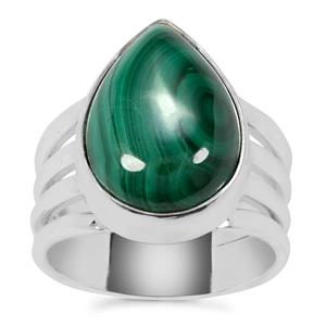 Malachite Cuff Ring in Sterling Silver 12.50cts