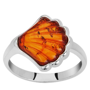 Baltic Cognac Amber Ring in Sterling Silver (12x13mm)