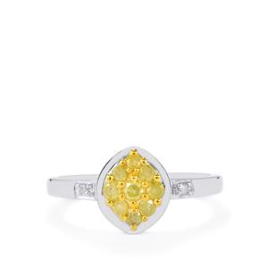 Natural Yellow Diamond Ring with White Diamond in Sterling Silver 0.37ct