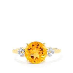 Diamantina Citrine Ring with Diamond in 9K Gold 2.21cts