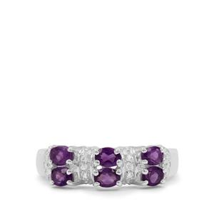 Amethyst Ring with White Zircon in Sterling Silver 0.80ct