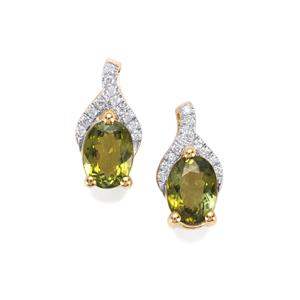 Cuprian Tourmaline Earrings with Diamond in 18k Gold 1.76cts