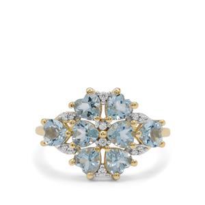 Santa Maria Aquamarine & White Zircon 9K Gold Ring ATGW 1.90cts