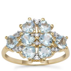 Santa Maria Aquamarine Ring with White Zircon in 9K Gold 1.90cts