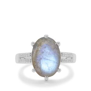 Labradorite Ring with White Zircon in Sterling Silver 6.55cts