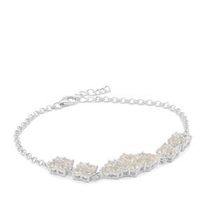 Plush Diamond Sunstone Bracelet with White Zircon in Sterling Silver 3.10cts