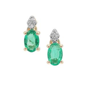 Ethiopian Emerald Earrings with Diamond in 9K Gold 0.72ct