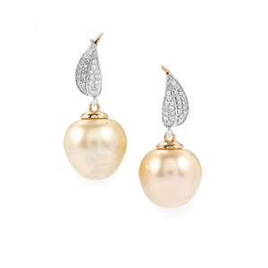 South Sea Cultured Pearl Earrings with Diamond in 18K Gold (14.20 x 14.00mm)