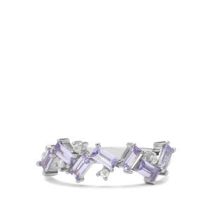Tanzanite & White Zircon Sterling Silver Ring ATGW 0.89ct