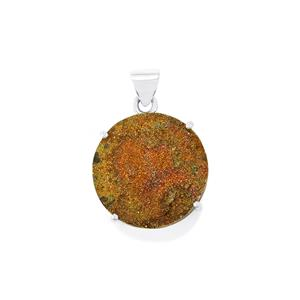 Spectropyrite Drusy Pendant in Sterling Silver 30cts