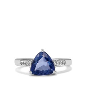 Baiyang Colour Change Fluorite Ring with White Topaz in Sterling Silver 2.96cts
