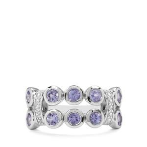 AA Tanzanite & White Zircon Sterling Silver Nora Saul Ring ATGW 1.25cts