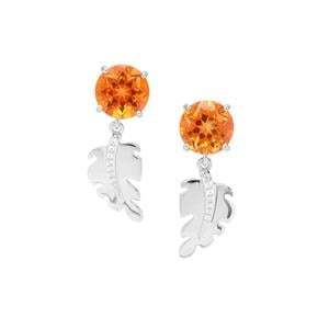 Padparadscha Quartz Earrings with White Zircon in Sterling Silver 5.95cts
