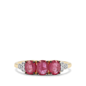 Thai Ruby & Diamond 9K Gold Ring ATGW 1.34cts