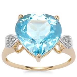 Swiss Blue Topaz Ring with Diamond in 9K Gold 7cts
