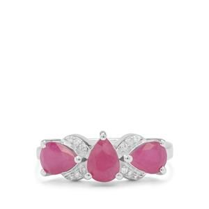 Kenyan Ruby Ring with White Zircon in Sterling Silver 2.70cts