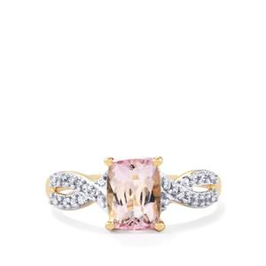 Mawi Kunzite Ring with White Zircon in 9K Gold 1.76cts