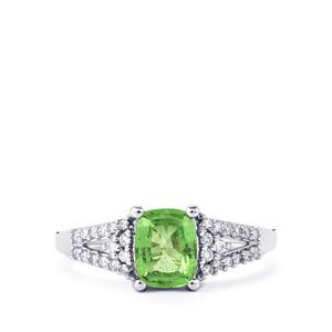 Tsavorite Garnet Ring with Diamond in 18k White Gold 1.53cts