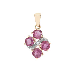 Natural Pink Fluorite Pendant with Diamond in 9K Gold 2.35cts