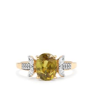 Ambilobe Sphene & Diamond 18K Gold Tomas Rae Ring MTGW 2.31cts